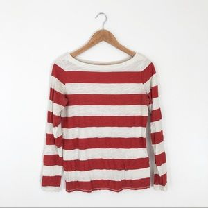 Loft Red Cream Striped Long Sleeve
